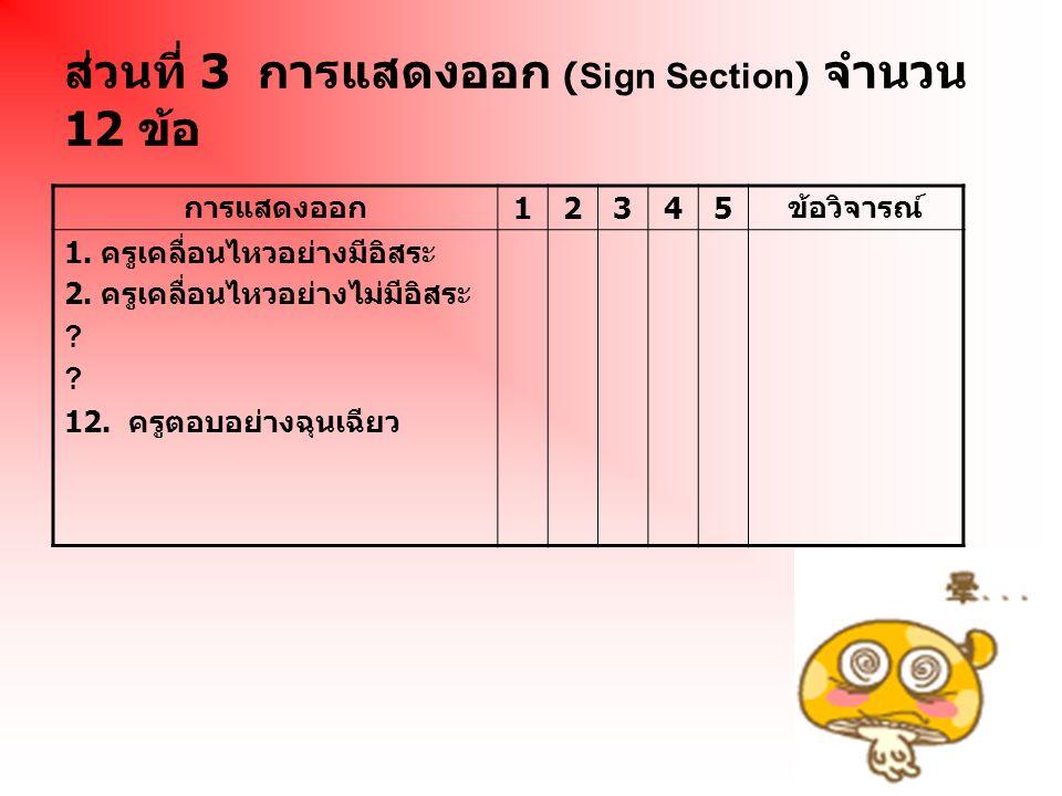 ส่วนที่ 3 การแสดงออก (Sign Section) จำนวน 12 ข้อ การแสดงออก 12345 ข้อวิจารณ์ 1. ครูเคลื่อนไหวอย่างมีอิสระ 2. ครูเคลื่อนไหวอย่างไม่มีอิสระ ? 12. ครูตอบ