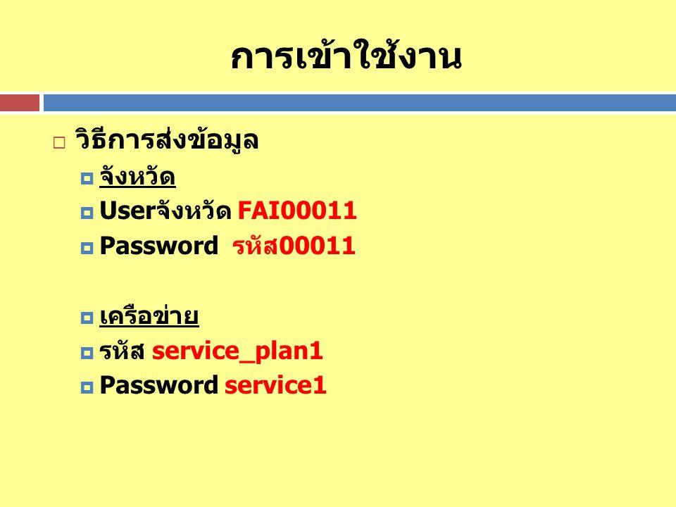 การเข้าใช้งาน  วิธีการส่งข้อมูล  จังหวัด  Userจังหวัด FAI00011  Password รหัส00011  เครือข่าย  รหัส service_plan1  Password service1