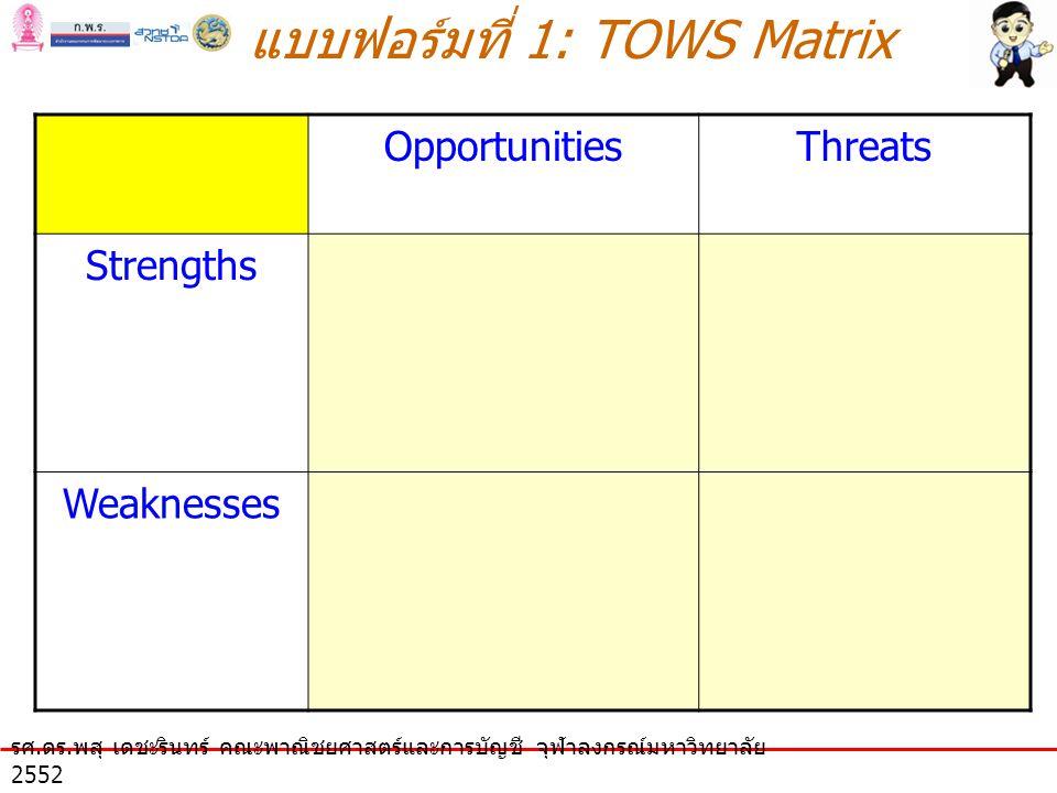แบบฟอร์มที่ 1: TOWS Matrix รศ. ดร.