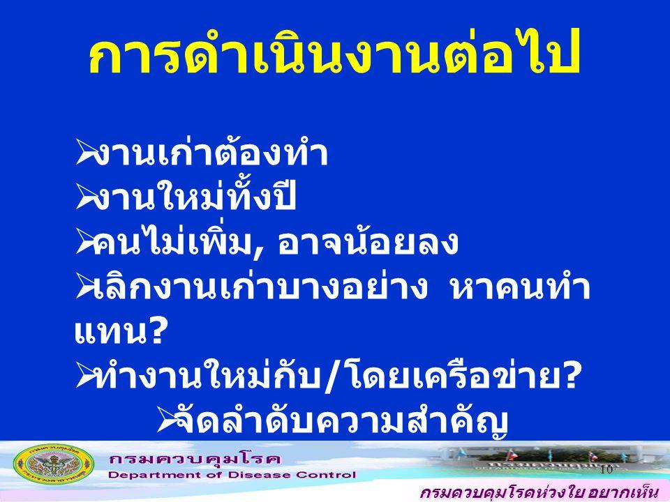 กรมควบคุมโรคห่วงใย อยากเห็น คนไทยสุขภาพดี 10 การดำเนินงานต่อไป  งานเก่าต้องทำ  งานใหม่ทั้งปี  คนไม่เพิ่ม, อาจน้อยลง  เลิกงานเก่าบางอย่าง หาคนทำ แทน .