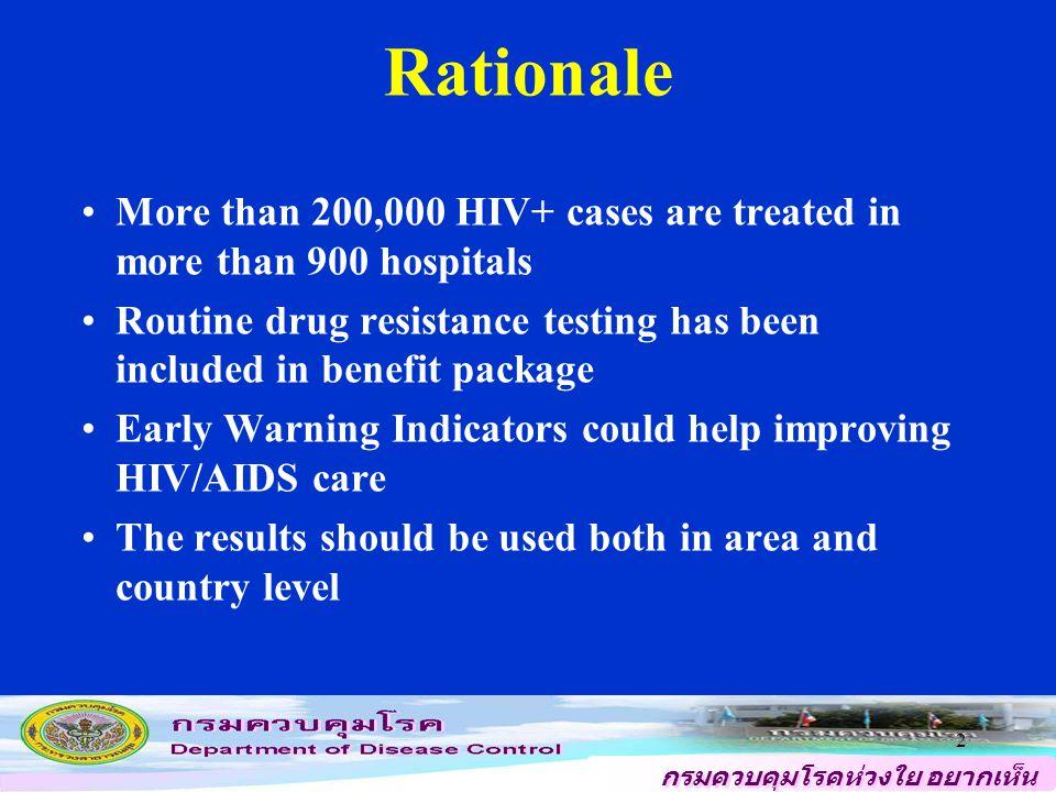 กรมควบคุมโรคห่วงใย อยากเห็น คนไทยสุขภาพดี 2 More than 200,000 HIV+ cases are treated in more than 900 hospitals Routine drug resistance testing has been included in benefit package Early Warning Indicators could help improving HIV/AIDS care The results should be used both in area and country level Rationale