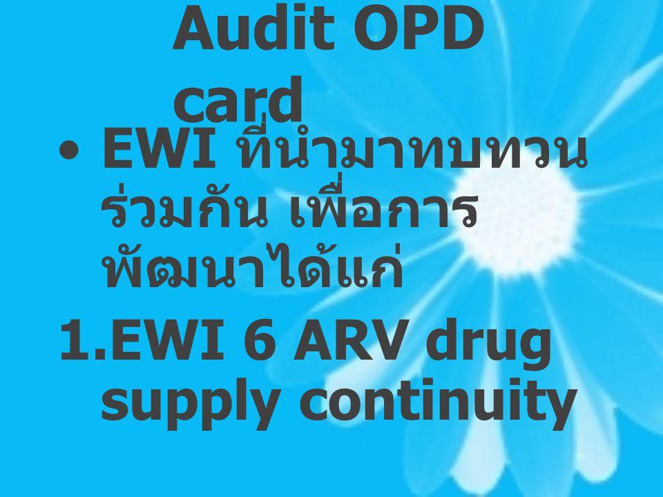 Audit OPD card EWI ที่นำมาทบทวน ร่วมกัน เพื่อการ พัฒนาได้แก่ 1. EWI 6 ARV drug supply continuity