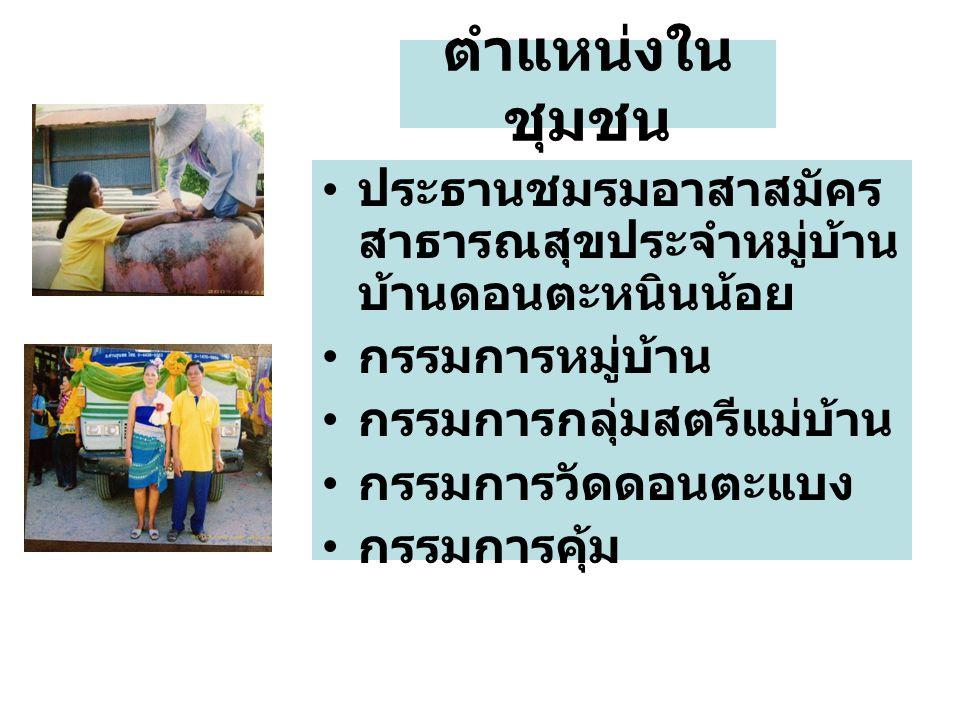 ประธานชมรมอาสาสมัคร สาธารณสุขประจำหมู่บ้าน บ้านดอนตะหนินน้อย กรรมการหมู่บ้าน กรรมการกลุ่มสตรีแม่บ้าน กรรมการวัดดอนตะแบง กรรมการคุ้ม ตำแหน่งใน ชุมชน