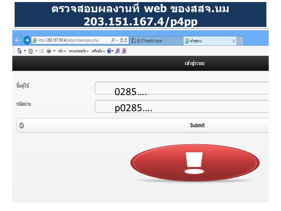 ตรวจสอบผลงานที่ web ของสสจ. นม 203.151.167.4/p4pp 0285…. p0285….