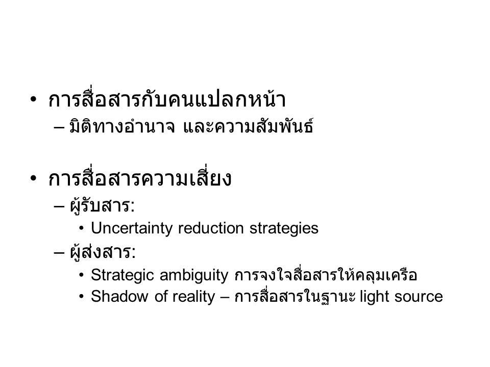 การสื่อสารกับคนแปลกหน้า – มิติทางอำนาจ และความสัมพันธ์ การสื่อสารความเสี่ยง – ผู้รับสาร : Uncertainty reduction strategies – ผู้ส่งสาร : Strategic amb
