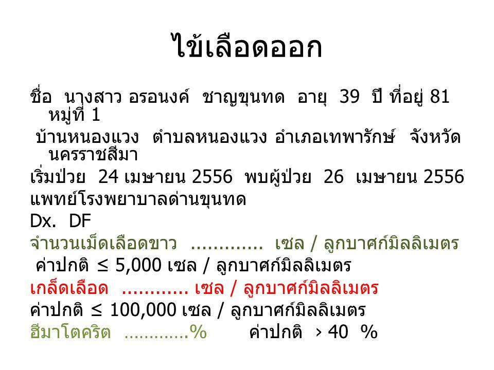 ไข้เลือดออก ชื่อ นางสาว อรอนงค์ ชาญขุนทด อายุ 39 ปี ที่อยู่ 81 หมู่ที่ 1 บ้านหนองแวง ตำบลหนองแวง อำเภอเทพารักษ์ จังหวัด นครราชสีมา เริ่มป่วย 24 เมษายน 2556 พบผู้ป่วย 26 เมษายน 2556 แพทย์โรงพยาบาลด่านขุนทด Dx.