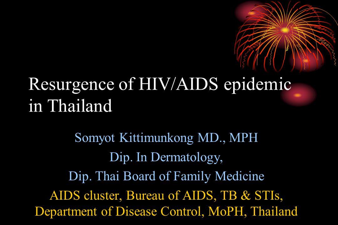 Resurgence of HIV/AIDS epidemic in Thailand Somyot Kittimunkong MD., MPH Dip.