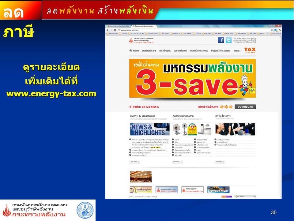 ดูรายละเอียดเพิ่มเติมได้ที่www.energy-tax.com 30 ลด ภาษี