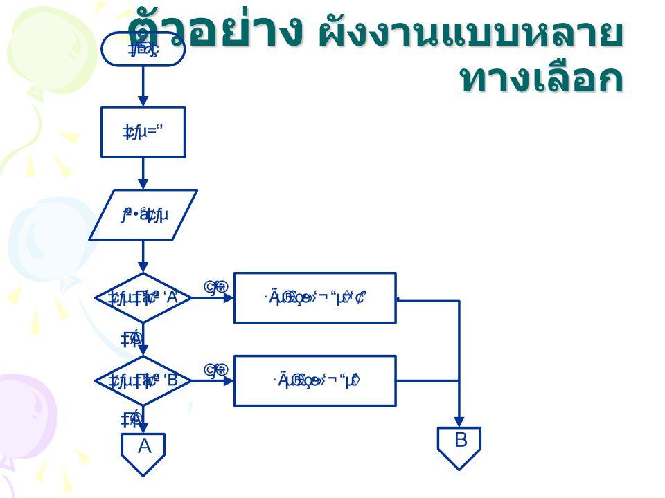 ตัวอย่าง ผังงานแบบหลาย ทางเลือก
