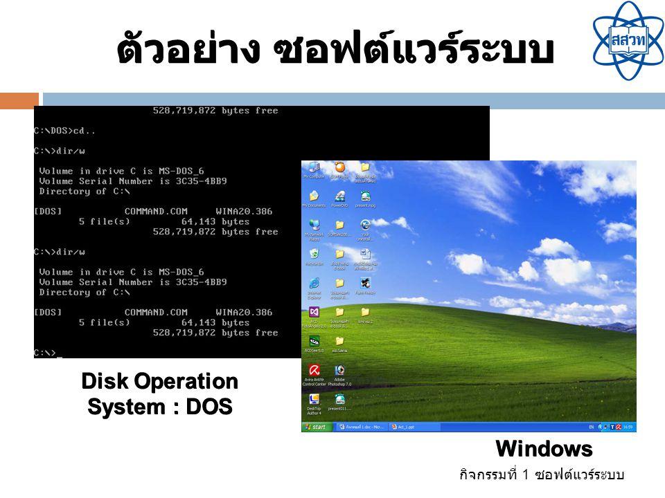 กิจกรรมที่ 1 ซอฟต์แวร์ระบบ เป็นโปรแกรมที่ทำหน้าที่ ประสานงานฮาร์ดแวร์กับระบบ คอมพิวเตอร์ให้ทำงานร่วมกัน ได้อย่างมีประสิทธิภาพ เช่น Printer Driver, Scanner Driver, Sound Driver โปรแกรมขับอุปกรณ์ (Device Driver)