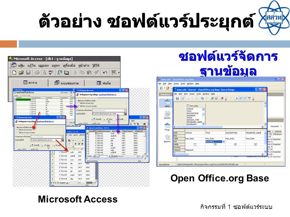 กิจกรรมที่ 1 ซอฟต์แวร์ระบบ ซอฟต์แวร์จัดการ ฐานข้อมูล ตัวอย่าง ซอฟต์แวร์ประยุกต์ Microsoft Access Open Office.org Base