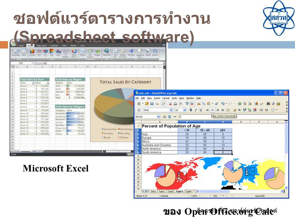 กิจกรรมที่ 2 ซอฟต์แวร์ประยุกต์ ของ Open Office.org Calc Microsoft Excel ซอฟต์แวร์ตารางการทำงาน (Spreadsheet software)