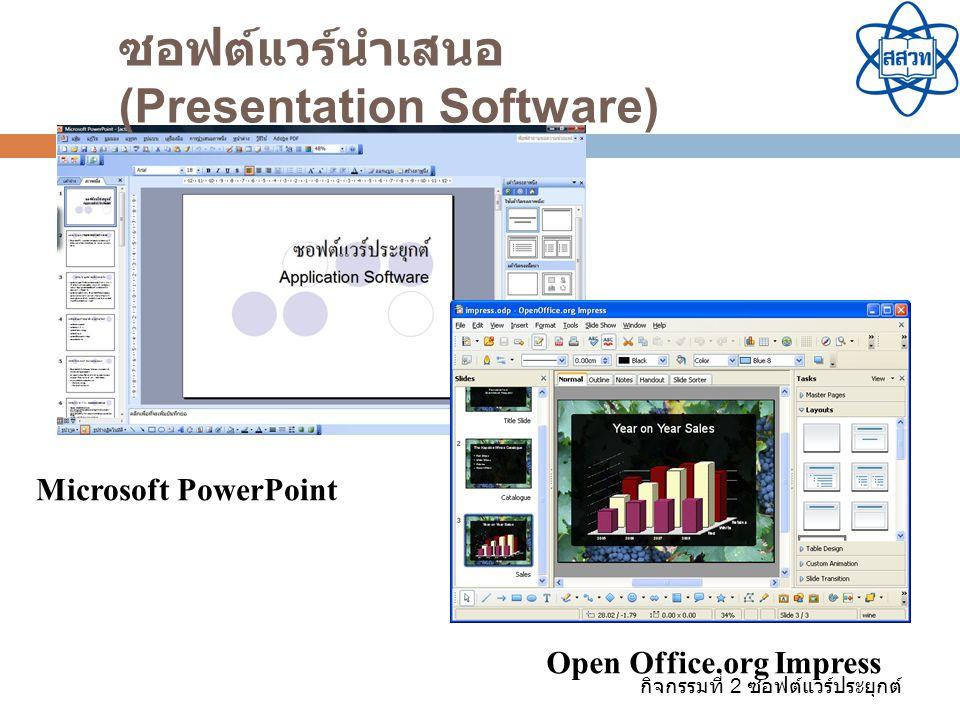 กิจกรรมที่ 2 ซอฟต์แวร์ประยุกต์ Open Office.org Impress Microsoft PowerPoint ซอฟต์แวร์นำเสนอ (Presentation Software)