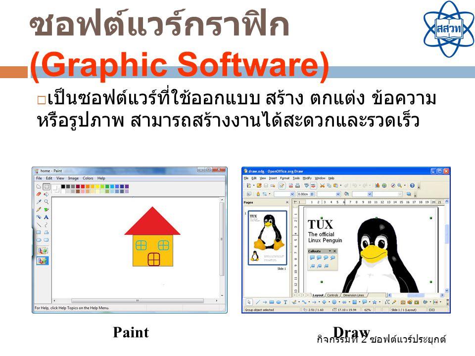 กิจกรรมที่ 2 ซอฟต์แวร์ประยุกต์ ซอฟต์แวร์กราฟิก (Graphic Software)  เป็นซอฟต์แวร์ที่ใช้ออกแบบ สร้าง ตกแต่ง ข้อความ หรือรูปภาพ สามารถสร้างงานได้สะดวกแล