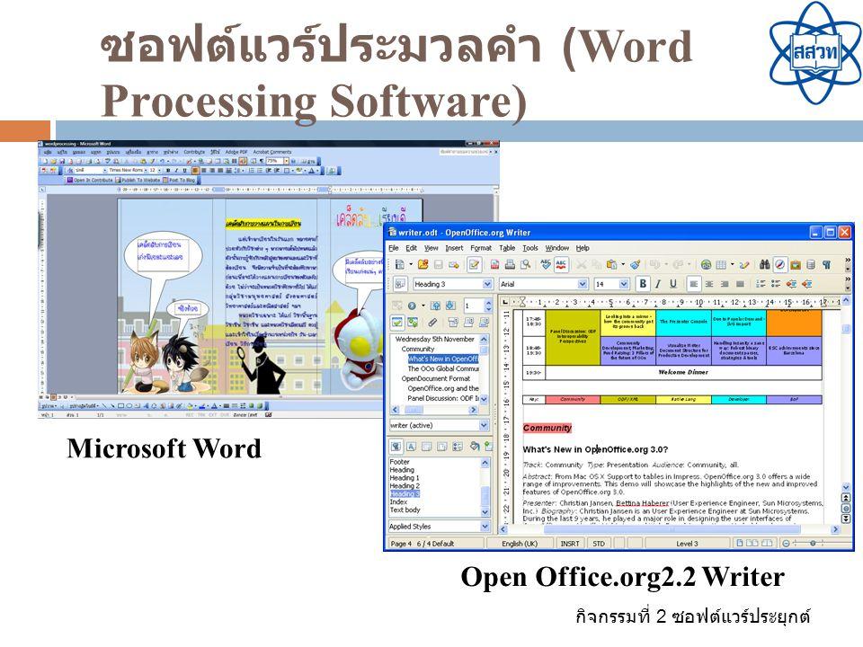 กิจกรรมที่ 2 ซอฟต์แวร์ประยุกต์ ซอฟต์แวร์ตารางการทำงาน (Spreadsheet software)  เป็นซอฟต์แวร์สำหรับช่วยในการคิดคำนวณ  สามารถใส่ตัวเลข ข้อความ สูตร และสั่งให้คำนวณ สูตร เงื่อนไข หรือคำสั่งพิเศษที่เรียกว่า มาโคร ได้  สามารถสร้างกราฟสำหรับนำเสนอในรูปแบบต่างๆ เช่น กราฟแท่ง กราฟวงกลม กราฟเส้น