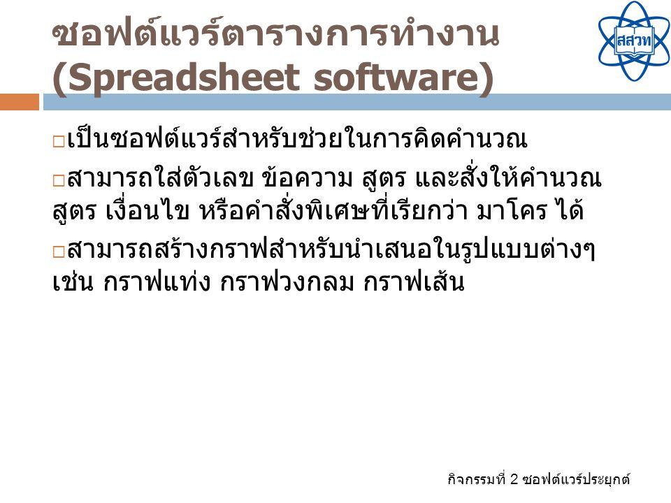 กิจกรรมที่ 2 ซอฟต์แวร์ประยุกต์ ซอฟต์แวร์ตารางการทำงาน (Spreadsheet software)  เป็นซอฟต์แวร์สำหรับช่วยในการคิดคำนวณ  สามารถใส่ตัวเลข ข้อความ สูตร และ