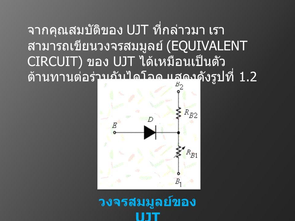 วงจรสมมูลย์ของ UJT จากคุณสมบัติของ UJT ที่กล่าวมา เรา สามารถเขียนวงจรสมมูลย์ (EQUIVALENT CIRCUIT) ของ UJT ได้เหมือนเป็นตัว ต้านทานต่อร่วมกับไดโอด แสดง