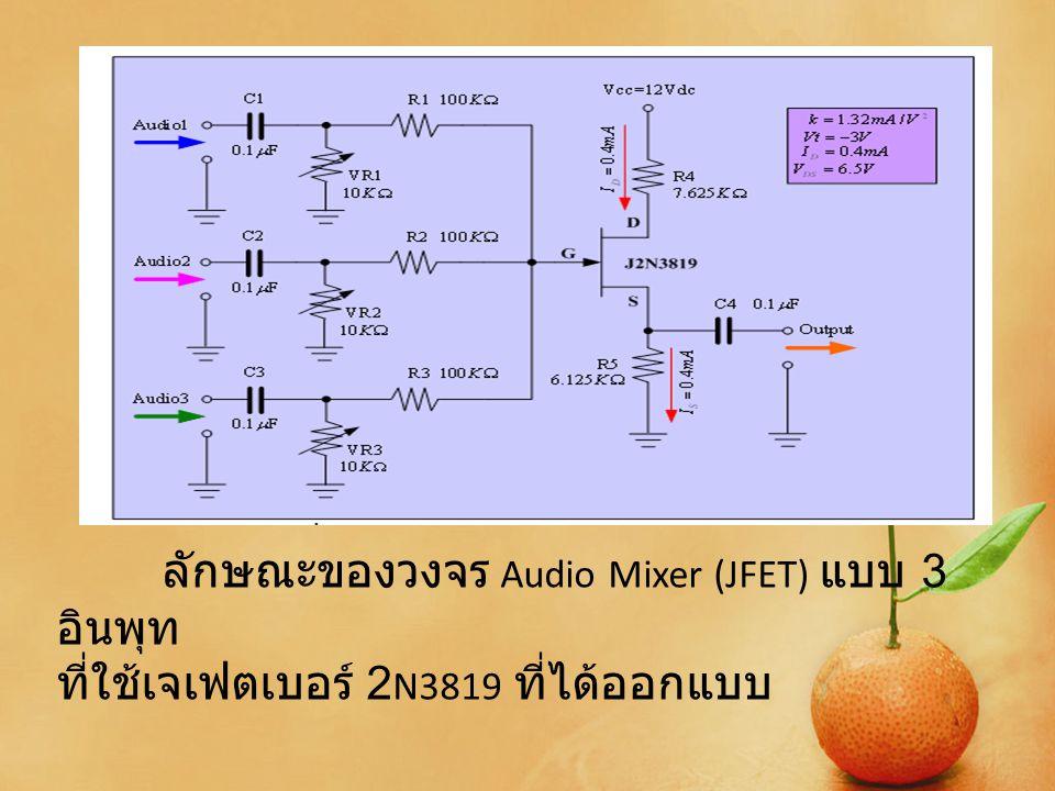 วงจร Audio Mixer (JFET) แบบ 3 อินพุท ที่ได้ ทำการออกแบบ โดยจะเห็นได้ว่าได้มีการใช้ หลักการของเจเฟตมาประยุกต์ใช้งาน โดยมี ลักษณะเป็นวงจรแบบวงจรรวมสัญญาณแบบ 3 อินพุท ซึ่งสัญญาณทั้ง 3 นั้นจะถูกรวมเข้า ด้วยกัน ซึ่งจะสามารถควบคุมระดับของสัญญาณ ที่ป้อนเข้ามาได้ว่าต้องการให้มีความแรงของ สัญญาณมากน้อยเท่าใด โดยจะควบคุมความ แรงของสัญญาณได้ในระดับหนึ่งตามที่ได้ทำ การออกแบบไว้และได้สัญญาณทั้งหมดออกมา นั้นเอง