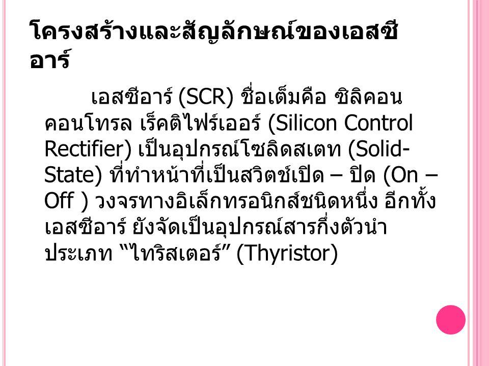 โครงสร้างและสัญลักษณ์ของเอสซี อาร์ เอสซีอาร์ (SCR) ชื่อเต็มคือ ซิลิคอน คอนโทรล เร็คติไฟร์เออร์ (Silicon Control Rectifier) เป็นอุปกรณ์โซลิดสเตท (Solid