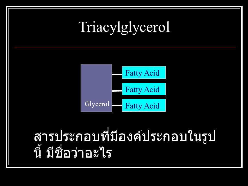 Glycerol Fatty Acid Triacylglycerol สารประกอบที่มีองค์ประกอบในรูป นี้ มีชื่อว่าอะไร