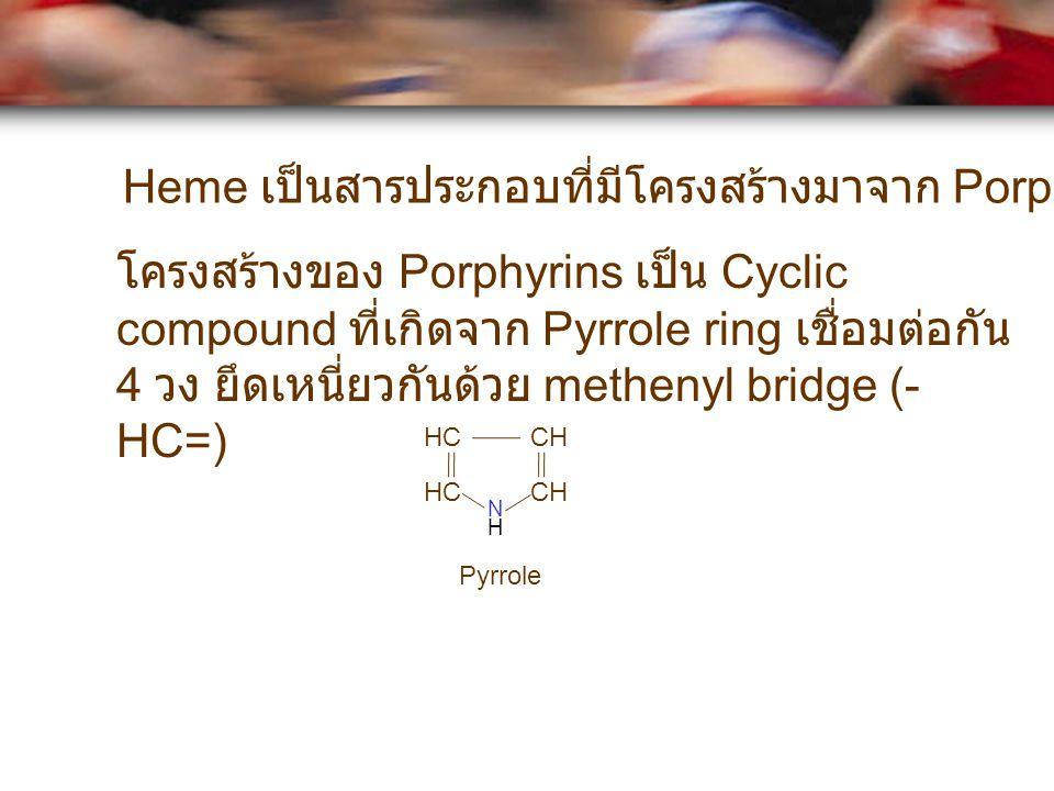 HC CH N H โครงสร้างของ Porphyrins เป็น Cyclic compound ที่เกิดจาก Pyrrole ring เชื่อมต่อกัน 4 วง ยึดเหนี่ยวกันด้วย methenyl bridge (- HC=) Pyrrole Hem