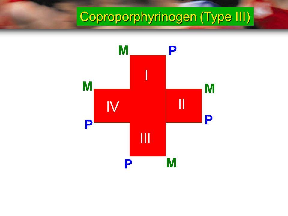 I II III IV M P M M M P P P Coproporphyrinogen (Type III)
