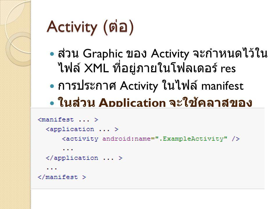 Activity ( ต่อ ) ส่วน Graphic ของ Activity จะกำหนดไว้ใน ไฟล์ XML ที่อยู่ภายในโฟลเดอร์ res การประกาศ Activity ในไฟล์ manifest ในส่วน Application จะใช้ค