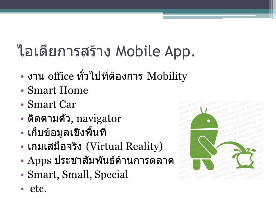 ไอเดียการสร้าง Mobile App. งาน office ทั่วไปที่ต้องการ Mobility Smart Home Smart Car ติดตามตัว, navigator เก็บข้อมูลเชิงพื้นที่ เกมเสมือจริง (Virtual