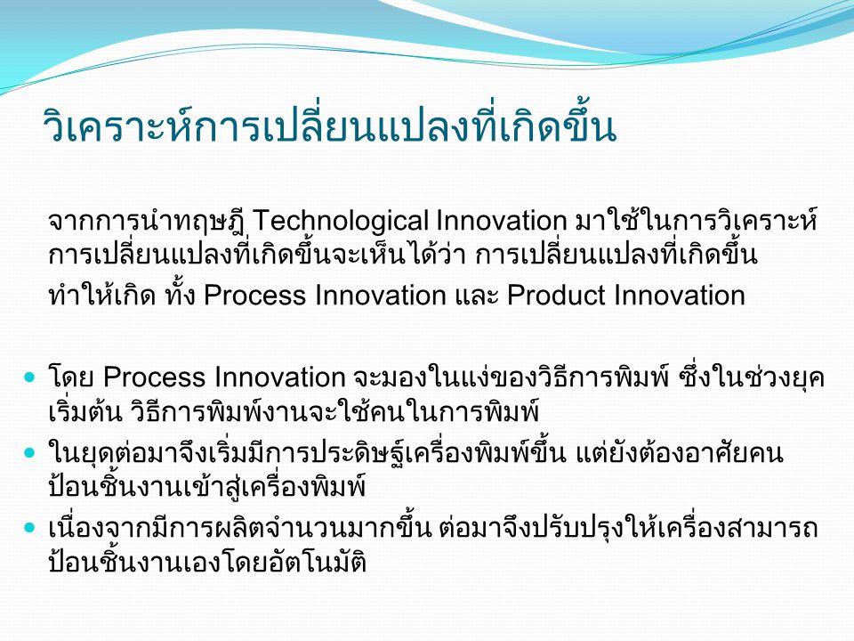 วิเคราะห์การเปลี่ยนแปลงที่เกิดขึ้น จากการนำทฤษฎี Technological Innovation มาใช้ในการวิเคราะห์ การเปลี่ยนแปลงที่เกิดขึ้นจะเห็นได้ว่า การเปลี่ยนแปลงที่เกิดขึ้น ทำให้เกิด ทั้ง Process Innovation และ Product Innovation โดย Process Innovation จะมองในแง่ของวิธีการพิมพ์ ซึ่งในช่วงยุค เริ่มต้น วิธีการพิมพ์งานจะใช้คนในการพิมพ์ ในยุดต่อมาจึงเริ่มมีการประดิษฐ์เครื่องพิมพ์ขึ้น แต่ยังต้องอาศัยคน ป้อนชิ้นงานเข้าสู่เครื่องพิมพ์ เนื่องจากมีการผลิตจำนวนมากขึ้น ต่อมาจึงปรับปรุงให้เครื่องสามารถ ป้อนชิ้นงานเองโดยอัตโนมัติ
