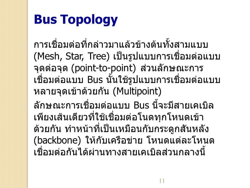 11 Bus Topology  การเชื่อมต่อที่กล่าวมาแล้วข้างต้นทั้งสามแบบ (Mesh, Star, Tree) เป็นรูปแบบการเชื่อมต่อแบบ จุดต่อจุด (point-to-point) ส่วนลักษณะการ เช