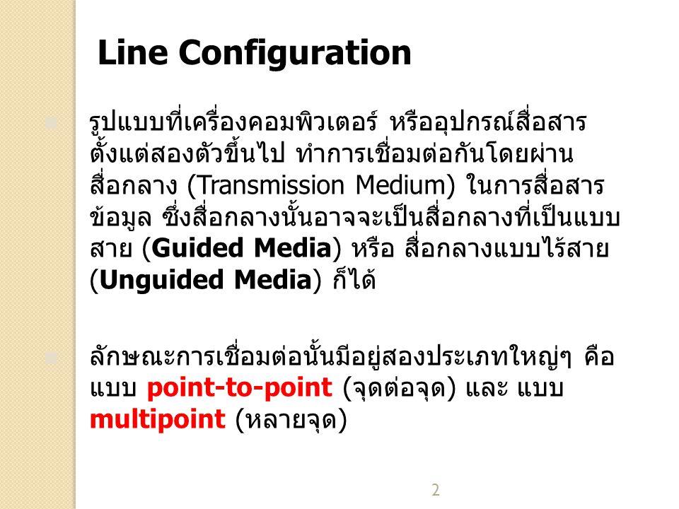 3 Point-to-Point Line Configuration การเชื่อมต่อแบบจุดต่อจุด คือการที่อุปกรณ์สื่อสาร หรือเครื่อง คอมพิวเตอร์แต่ละคู่ มีจุดเชื่อมต่อกันแน่นอน และใช้เฉพาะคู่ ของอุปกรณ์นั้นเท่านั้น ปริมาณหรืออัตราในการสื่อสารทั้งหมด ของจุดเชื่อมต่อนั้นใช้สำหรับคู่ของอุปกรณ์ สื่อกลางที่ใช้ อาจจะเป็นแบบสาย หรือแบบไร้สายก็ได้