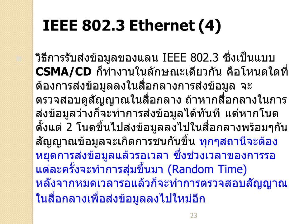 23 IEEE 802.3 Ethernet (4) วิธีการรับส่งข้อมูลของแลน IEEE 802.3 ซึ่งเป็นแบบ CSMA/CD ก็ทำงานในลักษณะเดียวกัน คือโหนดใดที่ ต้องการส่งข้อมูลลงในสื่อกลางก