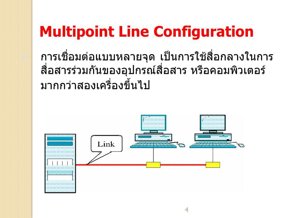 4 Multipoint Line Configuration การเชื่อมต่อแบบหลายจุด เป็นการใช้สื่อกลางในการ สื่อสารร่วมกันของอุปกรณ์สื่อสาร หรือคอมพิวเตอร์ มากกว่าสองเครื่องขึ้นไป