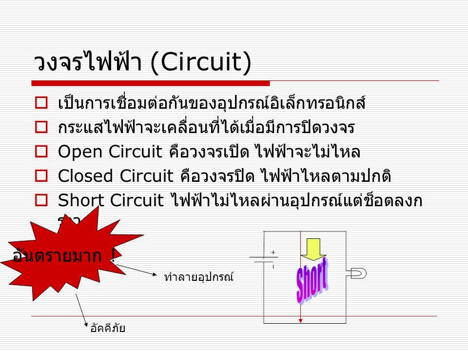 วงจรไฟฟ้า (Circuit)  เป็นการเชื่อมต่อกันของอุปกรณ์อิเล็กทรอนิกส์  กระแสไฟฟ้าจะเคลื่อนที่ได้เมื่อมีการปิดวงจร  Open Circuit คือวงจรเปิด ไฟฟ้าจะไม่ไห