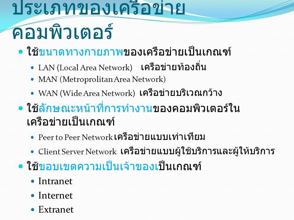 ประเภทของเครือข่าย คอมพิวเตอร์ ใช้ขนาดทางกายภาพของเครือข่ายเป็นเกณฑ์ LAN (Local Area Network) เครือข่ายท้องถิ่น MAN (Metroprolitan Area Network) WAN (