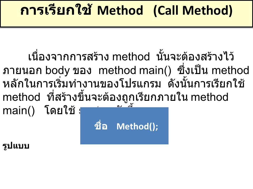 การเรียกใช้ Method (Call Method) เนื่องจากการสร้าง method นั้นจะต้องสร้างไว้ ภายนอก body ของ method main() ซึ่งเป็น method หลักในการเริ่มทำงานของโปรแก
