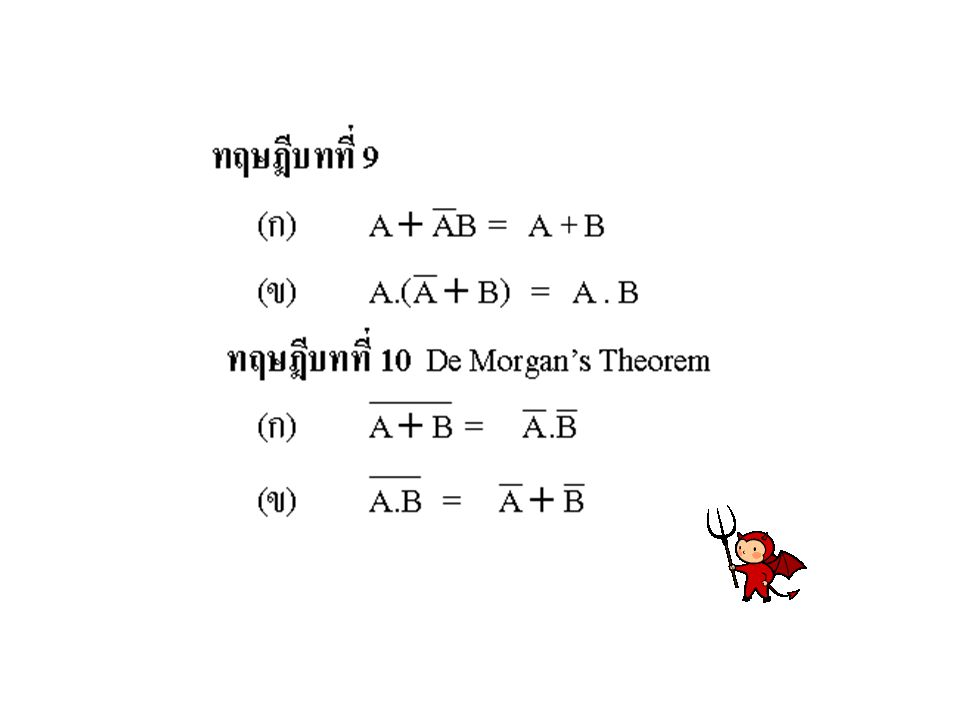 การพิสูจน์ทฤษฎีบทของพีชคณิตบูลีน สามารถทำได้หลายวิธี แต่วิธีที่ง่ายและเห็นได้ชัดเจนที่สุด คือการพิสูจน์โดยใช้ตารางความจริง ดัง ตัวอย่างดังนี้