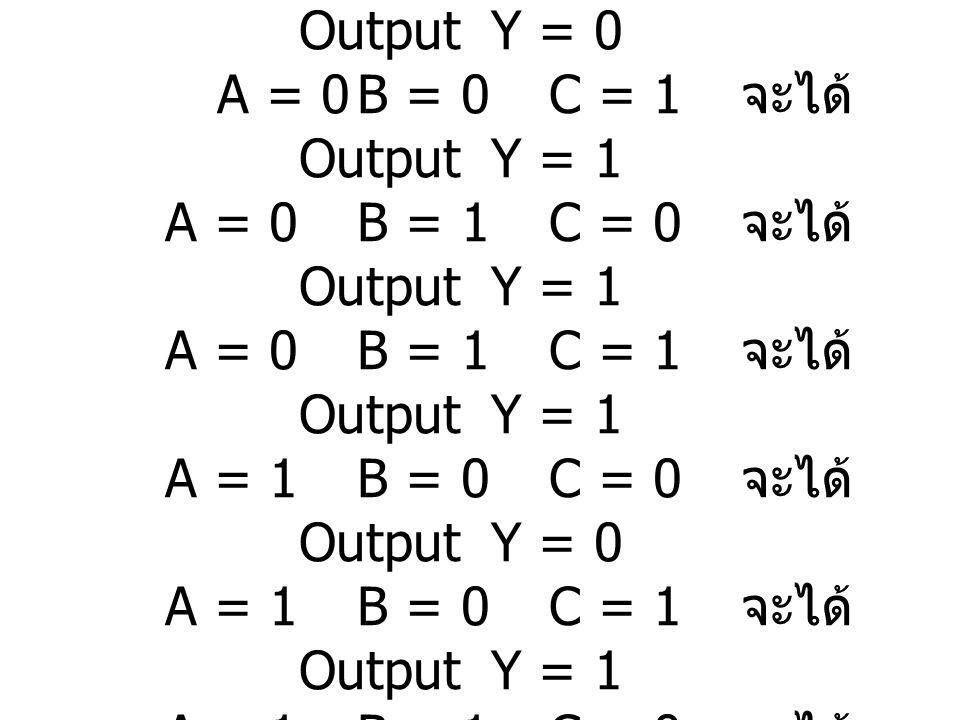 วิธีทำ จาก Timing Diagram ที่กำหนดให้ พิจารณาได้ดังนี้ เมื่อ A = 0B = 0C = 0 จะได้ Output Y = 0 A = 0B = 0C = 1 จะได้ Output Y = 1 A = 0B = 1C = 0 จะไ