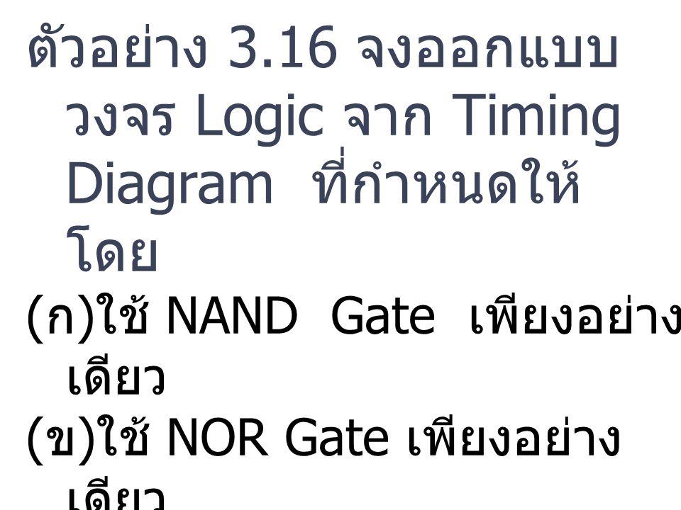 ตัวอย่าง 3.16 จงออกแบบ วงจร Logic จาก Timing Diagram ที่กำหนดให้ โดย (ก)ใช้ NAND Gate เพียงอย่าง เดียว (ข)ใช้ NOR Gate เพียงอย่าง เดียว