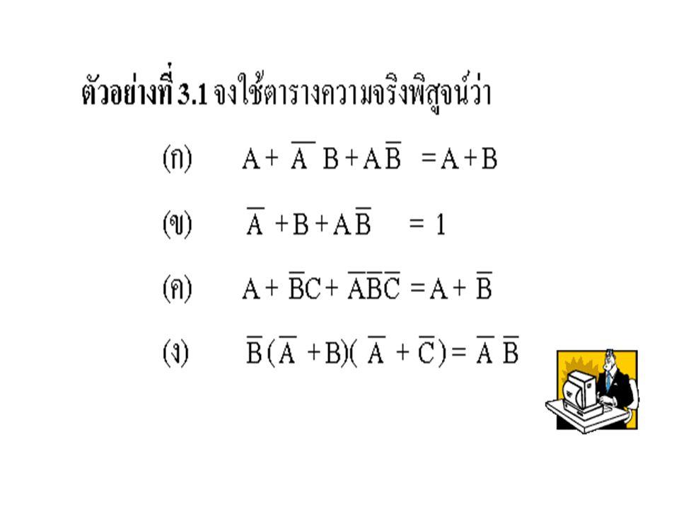 3.11 การออกแบบวงจร Logic ในการออกแบบวงจร Logic จาก Boolean Expression หรือ Switching Function หรือ Truth Table นั้น เรา จะต้องลดรูป Function ของ Output ให้เหลือน้อยที่สุดเสียก่อน โดยใช้ ทฤษฎีของ Boolean หรือวิธีอื่นๆ ซึ่งจะ กล่าวในบทต่อไป ทั้งนี้ก็เพื่อให้วงจร Logic ที่ต้องการมีจำนวน Gate น้อย ที่สุด หรือมีการลงทุนในการสร้างวงจร ต่ำ นอกจากนี้ยังเป็นการลดเวลาหน่วง (Delay Time) ของวงจรอีกด้วย