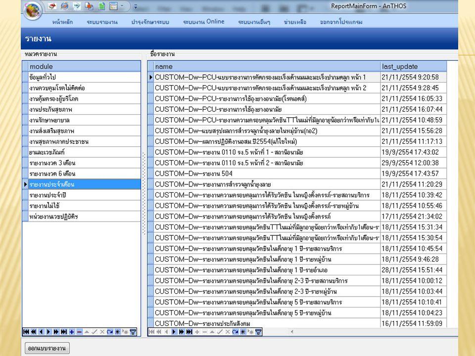  สามารถเลือกช่วงระยะเวลา ทั้งวัน เดือน ปี ที่เริ่มต้นและวัน เดือน ปี ที่สิ้นสุด  มีมุมมองเพื่อรองรับให้ผู้ใช้งานสามารถ เขียนคำสั่ง SQL เพื่อนำข้อมูลมาแสดง ได้ ในมุมมองหลายๆ มิติ ได้ ด้วยตนเอง  5.