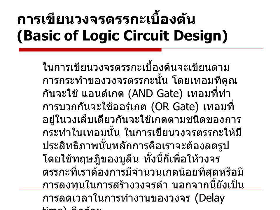 การเขียนวงจรตรรกะเบื้องต้น (Basic of Logic Circuit Design) ในการเขียนวงจรตรรกะเบื้องต้นจะเขียนตาม การกระทำของวงจรตรรกะนั้น โดยเทอมที่คูณ กันจะใช้ แอนด์เกต (AND Gate) เทอมที่ทำ การบวกกันจะใช้ออร์เกต (OR Gate) เทอมที่ อยู่ในวงเล็บเดียวกันจะใช้เกตตามชนิดของการ กระทำในเทอมนั้น ในการเขียนวงจรตรรกะให้มี ประสิทธิภาพนั้นหลักการคือเราจะต้องลดรูป โดยใช้ทฤษฎีของบูลีน ทั้งนี้ก็เพื่อให้วงจร ตรรกะที่เราต้องการมีจำนวนเกตน้อยที่สุดหรือมี การลงทุนในการสร้างวงจรต่ำ นอกจากนี้ยังเป็น การลดเวลาในการทำงานของวงจร (Delay time) อีกด้วย