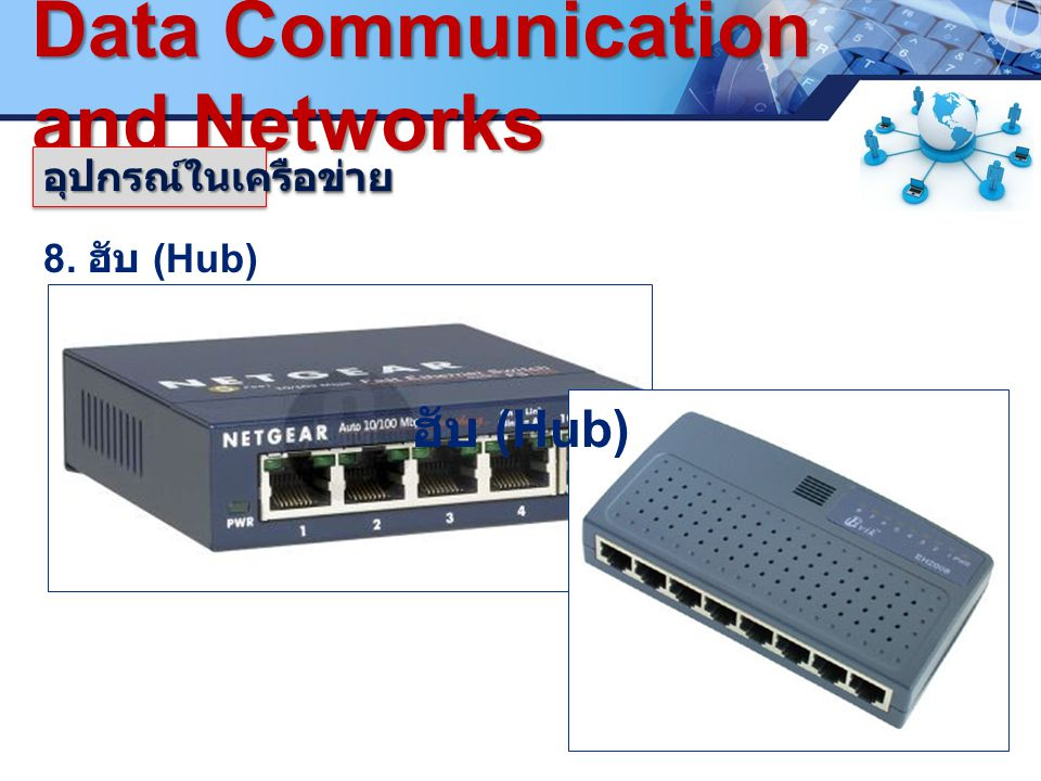 LOGO. www.pcbc.ac.th Data Communication and Networks 8. ฮับ (Hub) อุปกรณ์ในเครือข่ายอุปกรณ์ในเครือข่าย ฮับ (Hub)
