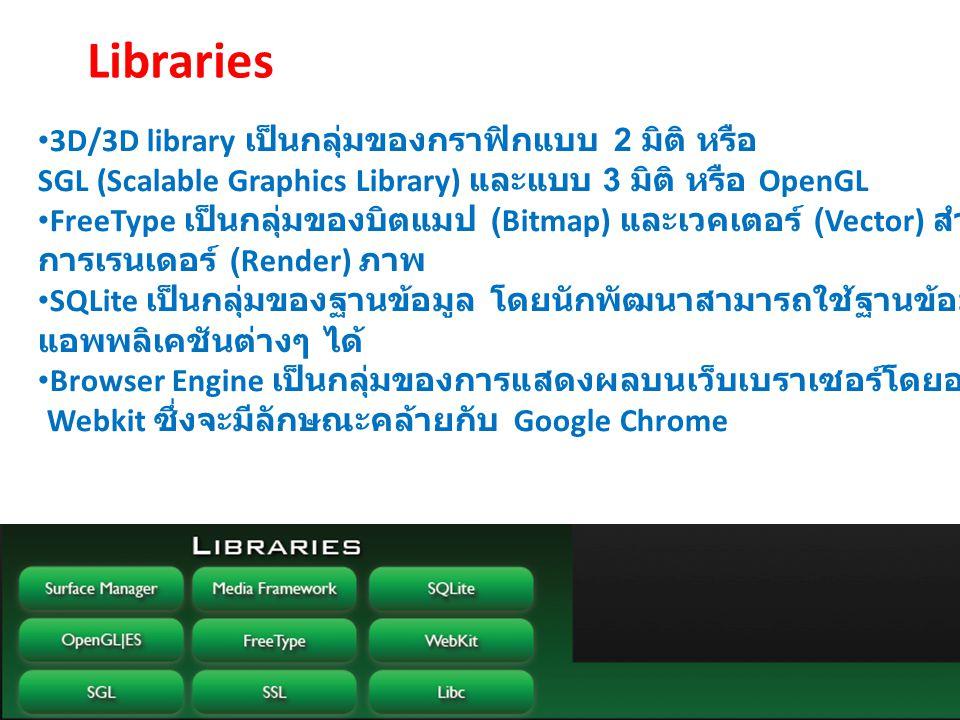 Libraries 3D/3D library เป็นกลุ่มของกราฟิกแบบ 2 มิติ หรือ SGL (Scalable Graphics Library) และแบบ 3 มิติ หรือ OpenGL FreeType เป็นกลุ่มของบิตแมป (Bitma