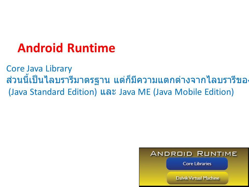Core Java Library ส่วนนี้เป็นไลบรารีมาตรฐาน แต่ก็มีความแตกต่างจากไลบรารีของ Java SE (Java Standard Edition) และ Java ME (Java Mobile Edition) Android