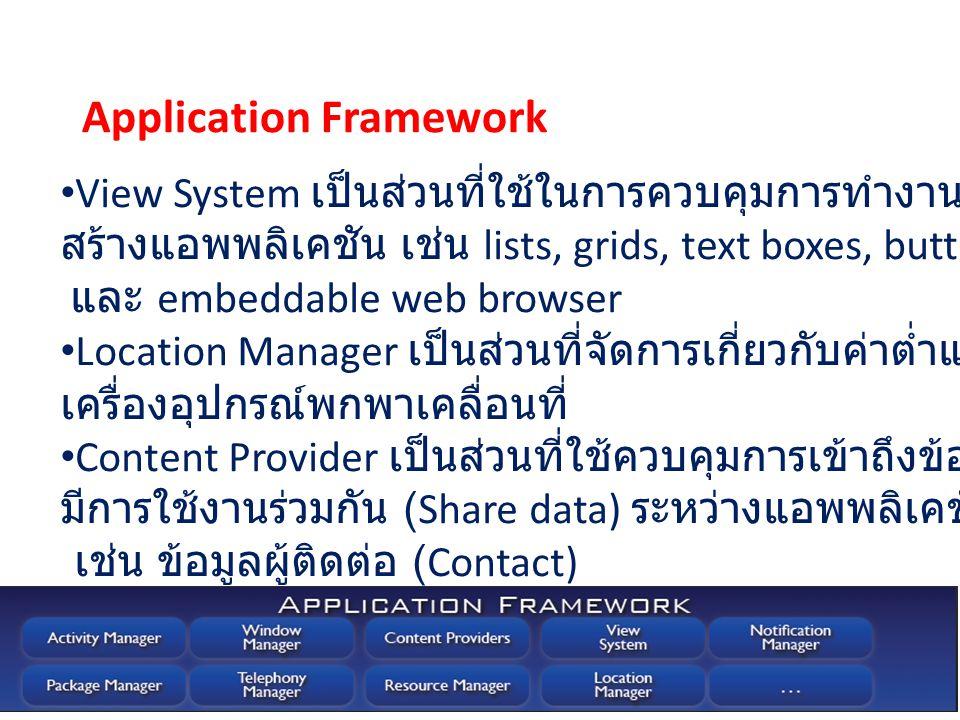 View System เป็นส่วนที่ใช้ในการควบคุมการทำงานสำหรับการ สร้างแอพพลิเคชัน เช่น lists, grids, text boxes, buttons และ embeddable web browser Location Man