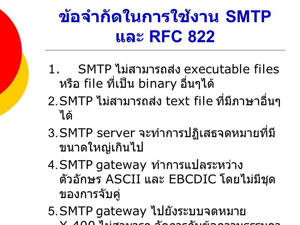 ข้อจำกัดในการใช้งาน SMTP และ RFC 822 1.SMTP ไม่สามารถส่ง executable files หรือ file ที่เป็น binary อื่นๆได้ 2.SMTP ไม่สามารถส่ง text file ที่มีภาษาอื่