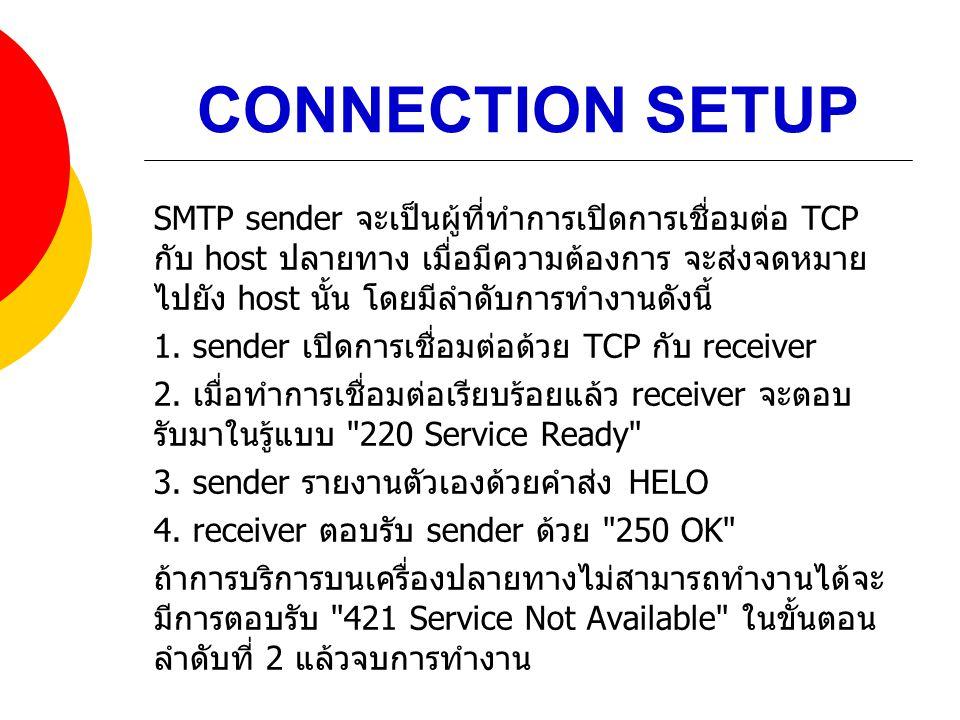 CONNECTION SETUP SMTP sender จะเป็นผู้ที่ทำการเปิดการเชื่อมต่อ TCP กับ host ปลายทาง เมื่อมีความต้องการ จะส่งจดหมาย ไปยัง host นั้น โดยมีลำดับการทำงานด