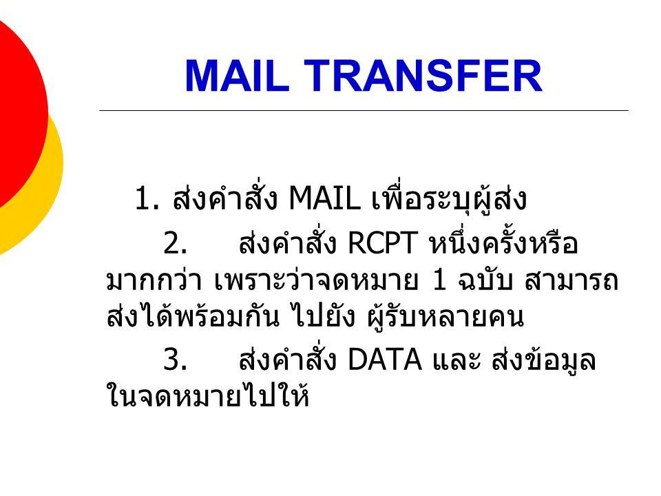MAIL TRANSFER 1. ส่งคำสั่ง MAIL เพื่อระบุผู้ส่ง 2. ส่งคำสั่ง RCPT หนึ่งครั้งหรือ มากกว่า เพราะว่าจดหมาย 1 ฉบับ สามารถ ส่งได้พร้อมกัน ไปยัง ผู้รับหลายค