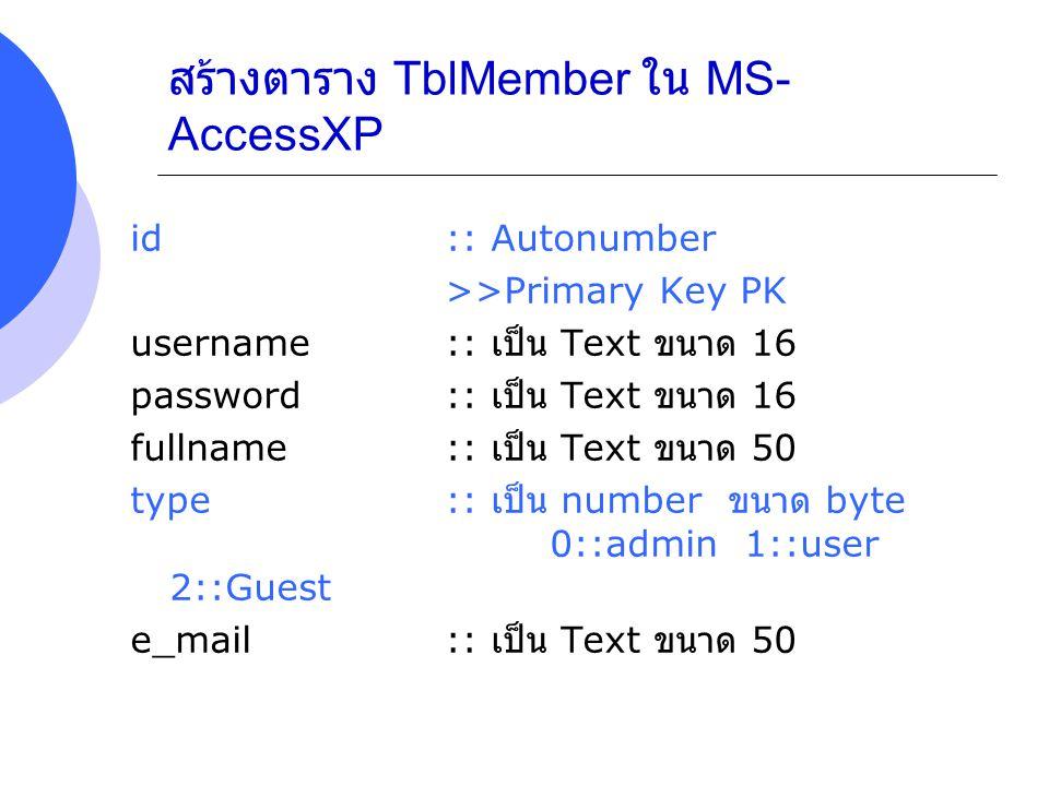 สร้างตาราง TblMember ใน MS- AccessXP id :: Autonumber >>Primary Key PK username :: เป็น Text ขนาด 16 password :: เป็น Text ขนาด 16 fullname :: เป็น Te